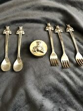 Vintage Baby Keepsake Silverplated Gift Set First Tooth Curl Teddy Bear Spoon