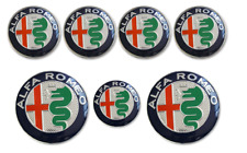 7pcs ALFA ROMEO Badge Stickers 74mm Front/Back +60mm Wheel +40mm Steering Wheel
