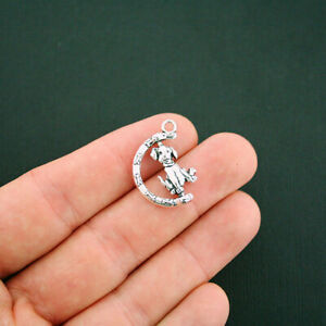 4 Dog Charms Antique Silver Tone 2 Sided Detail - Rotating Charm - SC6068