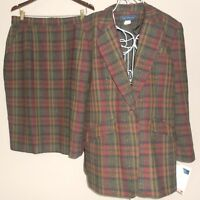 Maggie McNAUGHTON NEW suit PLAID wool BLAZER skirt Womans 18W 16W plus RED olive