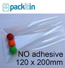 120 X 200mm () Non Seal No Adhesive Clear Cellophane Cello Plastic Bags