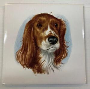 ENGLISH RETRO H & R JOHNSON LTD DOG TILE SPANIEL HOUND