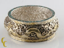 Sterling Silver .925 Bangle Bracelet Two Fire Breathing Dragon Snakes