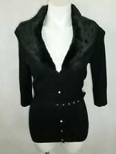 Arden B Long Black Belted Faux Fur Trim Collar Lapel Cardigan Size M Sweater