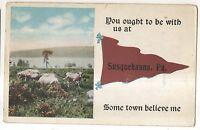 Cows on Susquehanna River SUSQUEHANNA DEPOT PA Vintage Pennsylvania Postcard