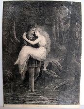 """1870~DE LA MOTTE FOUQUE'S WATER NYMPH, UNDINE-WOOD ENGRAVING PRINT~9  x 12 1/2"""""""