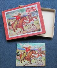 Vintage wooden jigsaw. Circa 1950s. Victory make. Complete & boxed. The Round Up