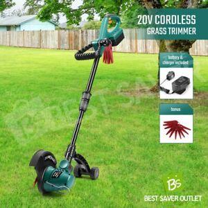Garden Cordless Grass Trimmer Telescopic Hedge Edger Snipper Turf Brush Cutter