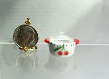 Dollhouse Miniature Porcelain Pot withCherry Design & Glass Cover