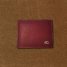 Personalized Genuine Leather Bi-fold Wallet - Burgundy - Engraved In USA