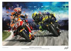 VALENTINO ROSSI MARC MARQUEZ limited edition art print by Greg Tillett 59x42cm