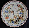 A136) Assiette ancienne faïence (décor Corne d'abondance, Oiseaux, etc.)
