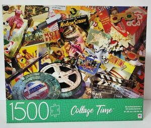 Milton Bradley Movie Madness Montage Puzzle 1500 Piece Collage Time NEW 32X24 in