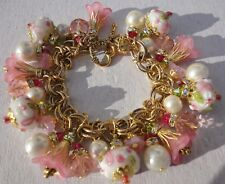 Breast Cancer Awareness Charm Bracelet Pink Ribbon Glass Lampwork Beads Crystal