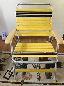 Vintage Sun Terrace Aluminum Folding Lawn Patio Arm Chair