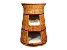 Three Tier Pet Tower Cat/Dog Bed Basket – Natural wicker colour possible pillows