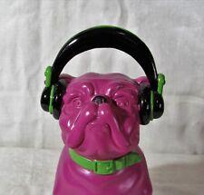 Plum Purple Plastic French Bulldog with Headphones