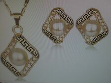 """NEW WOMEN'S GREEK KEY 18"""" NECKLACE AND EARRING SET PEARL  YELLOW GOLD PLATED"""