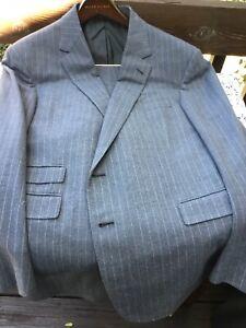 Ralph Lauren Purple Label Mens Flannel Chaulk Strip Suit 46 R