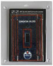 """(HCW) Edmonton Oilers 5""""x3.5"""" Art Glass Switch Plate Cover With Screws"""