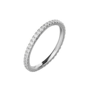 Sterling Silver Full Eternity 1.5mm Pave Set CZ Crystal Stacking Ring I -Q