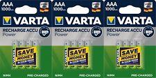 12 x Varta AAA 1000 mAH Rechargeable Batteries Accu Power R03 1.2V Ni-MH 5703