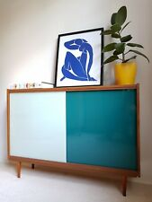Stylish Mid Century Blue Glass Cabinet Sideboard Storage Vintage 1960s Retro