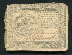 CC-50 NOVEMBER 2, 1776 $5 FIVE DOLLARS CONTINENTAL CURRENCY NOTE