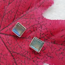 Labradorit, blau grün, eckig, elegant, Ohrringe, Ohrstecker, 925 Sterling Silber