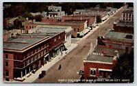 Miles City Montana~Main Street Birdseye View~Storefronts~HELLO on Rooftop~c1910