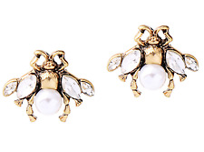 NEW Bee Insect Beetle Crystal Vintage Gucci Style White Rhinestone Stud Earrings