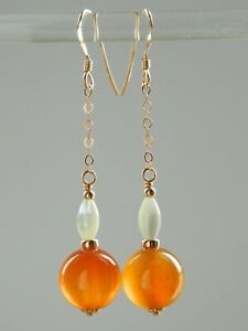 Natural Carnelian Gemstones, Vintage Mother of Pearl & Rolled Rose Gold Earrings