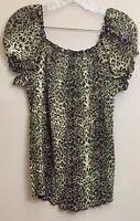 Blue Diamond Women's Size M Brown/Black/Tan Animal Print Crinkle Blouse
