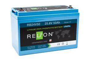 Relion 24v 50Ah Lithium Iron Phosphate LiFePO deep cycle battery Solar RV Marine