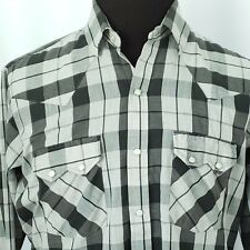 Dee Cee Mens Western Cowboy Shirt Size 16 1/2 Pearl Snap Buttons Gray Plaid