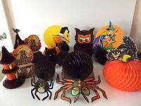 9 Vintage Halloween Honeycomb Tissue Die Cut Decorations Beistle Witch Spider