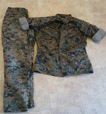 USMC MARPAT Uniform WOODLAND Combat Med Reg Shirt & Med RegPants Used