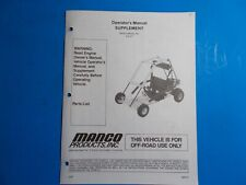 1997 Manco Machine Offroad Vehicle Model 415-271 Operators Supplement
