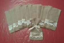 "10 pc  Natural Mini 4"" X 6"" Burlap Bags w/ lace Gift/Favor bags-Wedding"