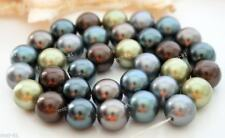 AAA South 12mm Real Round Multicolor Sea Shell Pearl Loose Beads 15""