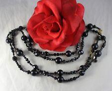 "Vintage Sarah 49"" Black Glass Beaded Necklace Feral Cat Rescue"