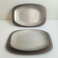 MCM Solid Walnut & Aluminum Steak Fajita Plates Set/2 AC Fabricators Gardena CA