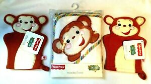 Fisher Price Hooded Towel Animals of the Rainforest Plus 2 Wash Mitts New Tags