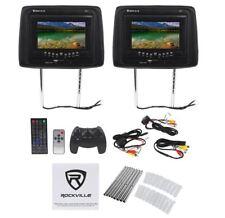 "Rockville RDP71-BK 7"" Black Car Headrest Monitors w/DVD/USB/SD Player+Games"
