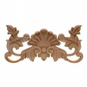 Unpainted Wood Oak Carved Wave Flower Onlay Decal Corner for Furniture Applique
