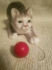 Vintage Enesco cat Music Box  Cat with ball. What's new pussycat