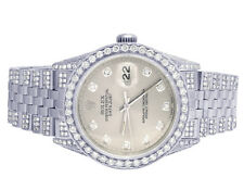 Mens Rolex Datejust 36MM S.Steel 16014 Iced Out Silver Dial Diamond Watch 8.75Ct