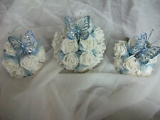 baby blue and ivory wedding bouquet package