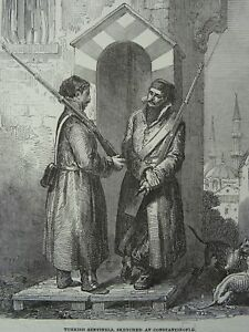 Constantinople TURKISH SENTINELS / GUARDS Original Victorian Print 1854