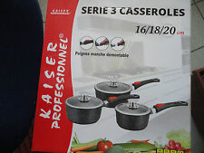 "SET DE 3 CASSEROLES 16/18/20 cm KAISER PRO INDUCTION FONTE D'ALU ""EFFET PIERRE"""